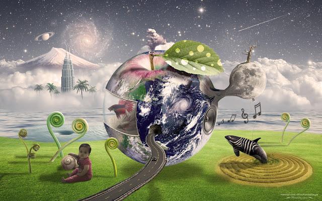 Surreal Harmonic Spiral World