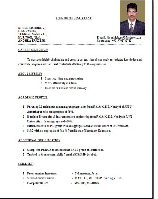 Bon Resume Sample Resume For Freshers B Pharmacy Latest Resume Format Doc  Samples Formate Cv Cover Letter