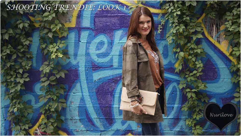 Shooting colaborando con la tienda de moda Trendie, primer look de tres