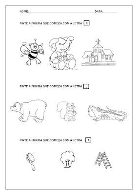 Exercícios encontrados nas atividades: complete o nome dos animais, complete o nome das frutas, pinte as vogais e consoantes de acordo com a legenda, complete o nome das figuras usando vogais, entre outros.