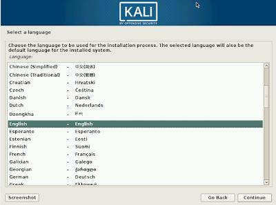 install kali linux, pilih bahasa