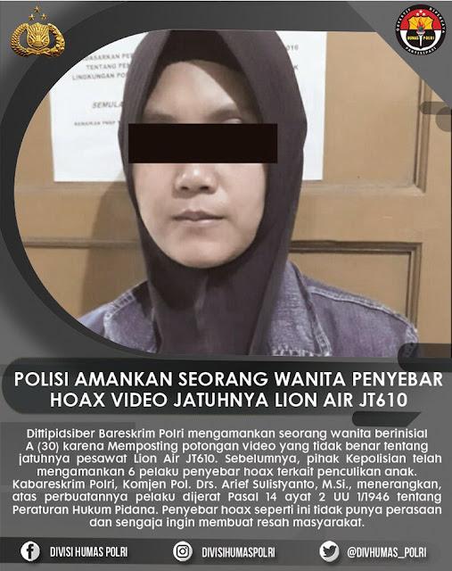 Perempuan Penyebar Hoaks Video Pesawat Lion Air Jatuh Ditangkap