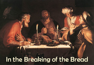 Jesus eating dinner with the disciples, after his resurrection
