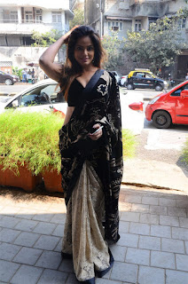 Neetu Chandra in Black Saree at Designer Sandhya Singh Store Launch Mumbai (17).jpg