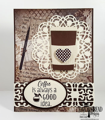 Our Daily Bread Designs Stamp Set: I Love Coffee, Our Daily Bread Designs Paper Collections: Vintage Ephemera, Ephemera Essentials, Our Daily Bread Designs Custom Dies: Beverage Cup, Doily, Trellis Strip, Pierced Ovals, Ovals