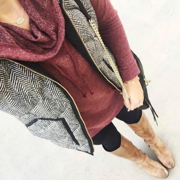 herringbone vest, cowl neck sweatshirt