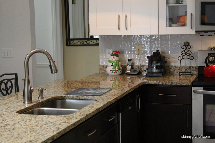 My Kitchen Is Gorgeous Now With Two Toned Cabinets, Granite, Glass Doors,  Pull Outs And My Awesome Pfister Selia Faucet