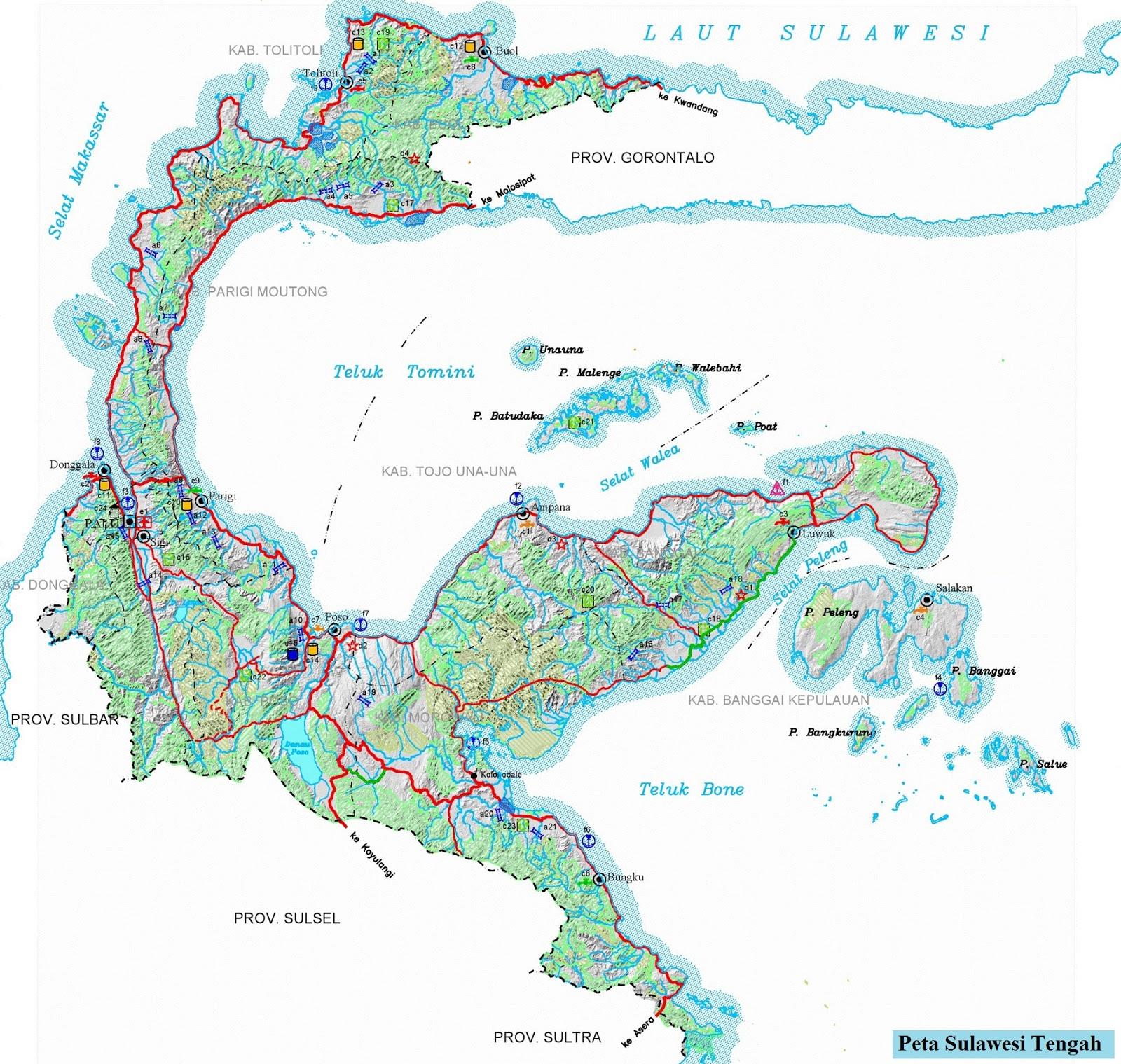 Peta Sulawesi Tengah HD