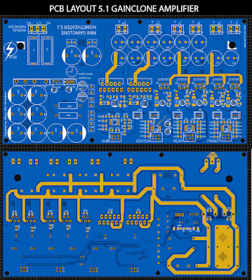 PCB Layout 5.1 Home theater Power Amplifier with Gainclone LM1875 + LM3886