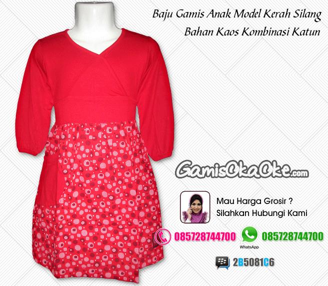 Baju gamis anak oka oke solo warna merah model kerah silang terbaru