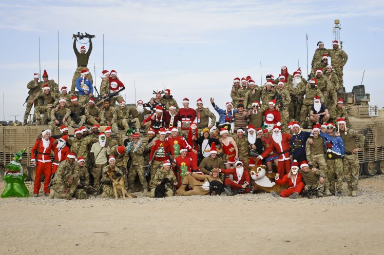 Soldiers based at Patrol Base Lash Durai, Afghanistan, get into the festive spirit (Picture: PA)