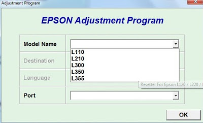 Download Resetter For Epson Printer L120 / L220 / L310 / L311 Software | Adjustment Program