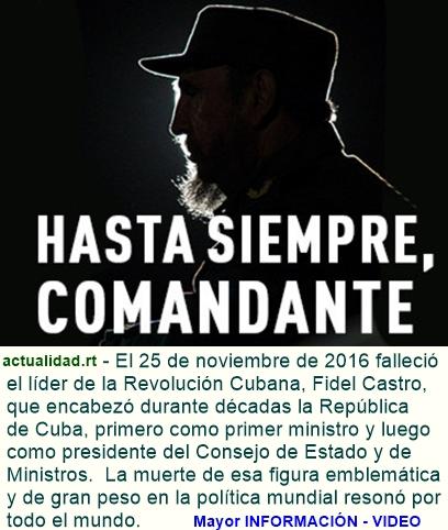 El funeral por la muerte de Fidel Castro comenzará el próximo lunes y durará hasta el 4 de diciembr