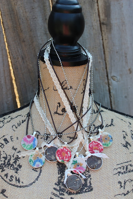 bezel necklace with vintage fabric, paper, and flowers