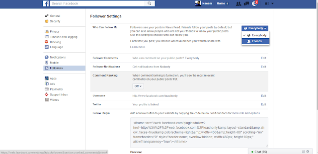 Facebook Followers Settings follow me public or private