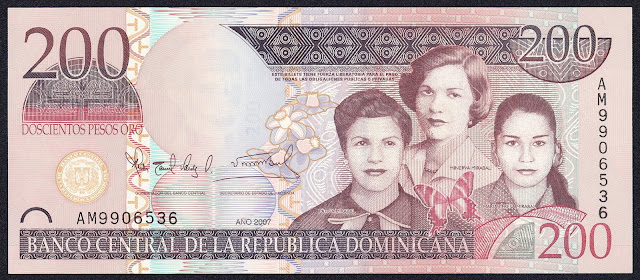 Dominican Republic currency 200 Pesos Oro banknote 2007 Mirabal Sisters