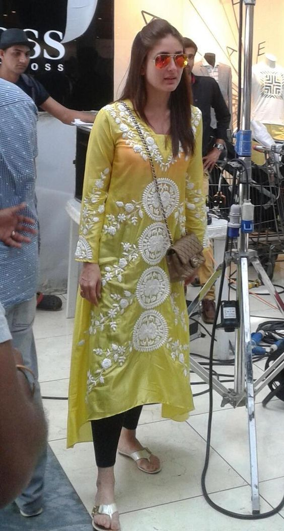 Kareena Kapoor In Yellow Transparent Kurtis