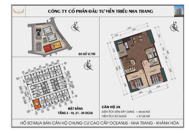 Sơ đồ căn hộ số 28 tòa OC2A Viễn Triều Nha Trang