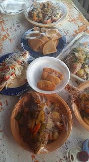 Seafood spread at Little Ochi, St. Elizabeth, Jamaica