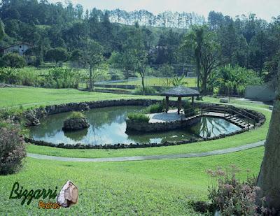 Construção de lago é com pedra moledo com a ilha e o quiosque de piaçava, churrasqueira de pedra e a ponte de madeira e a pista de cooper em volta do lago com piso cimentado em sítio em Atibaia-SP.