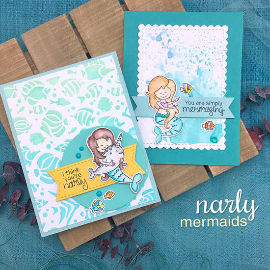 Mermaid Cards by Jennifer Jackson | Narly Mermaids Stamp Set by Newton's Nook Designs #newtonsnook #handmade