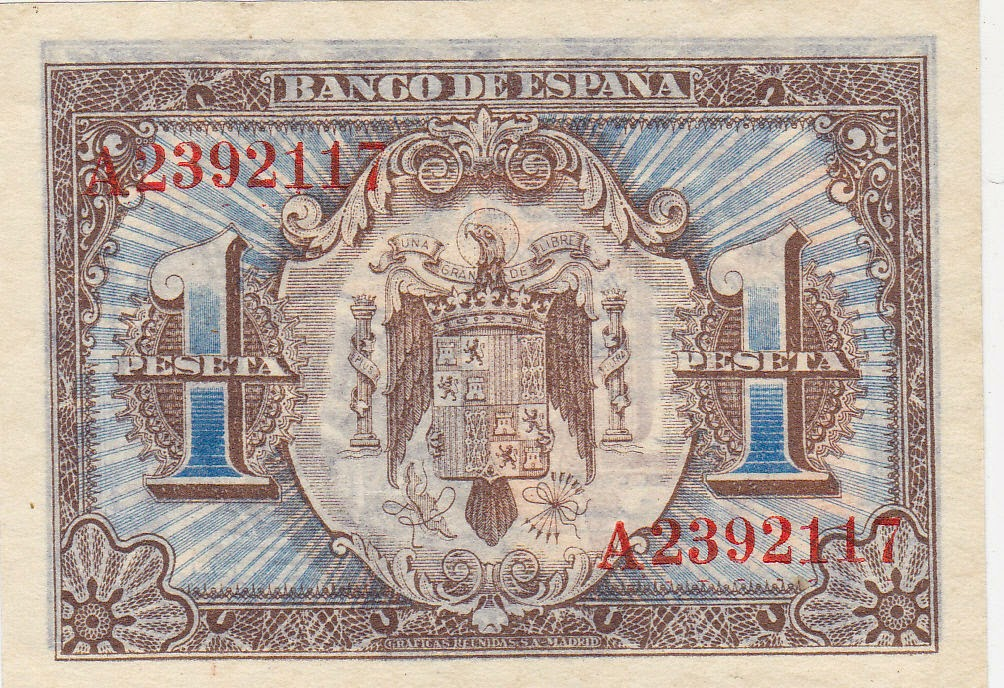 Spain money currency 1 Peseta banknote 1940 Coat of arms of Spain