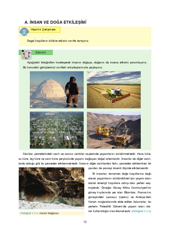 9. Sınıf Coğrafya Ders Kitabı Cevapları Fersa Yayınları Sayfa 12