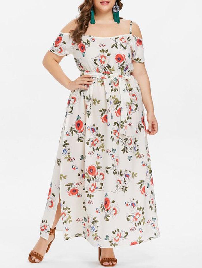 Vestido lus size longo floral em tecido leve e mangas ciganinhas com alças finas e cinto em laço na cintura, um vestido lindo de primavera