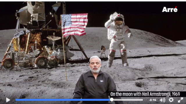 An independent filmmaker has brilliantly spoofed PM Modi's song of progress Mera desh badal raha hai, released on the occasion of his second anniversary celebrations.  The video released by Arre on May 26 has gone viral grabbing over 200,000 Likes on Facebook.  When Neil Armstrong went to moon, who was doing yoga there? You guessed it, Modi. Similarly, the video shows Modi taking part in events that unfolded in  history across the world.  He walked with Gandhi on Dandi march, 1968 summer Olympics - he was there, when Martin Luther King made his I have a dream speech, Modi was a witness.
