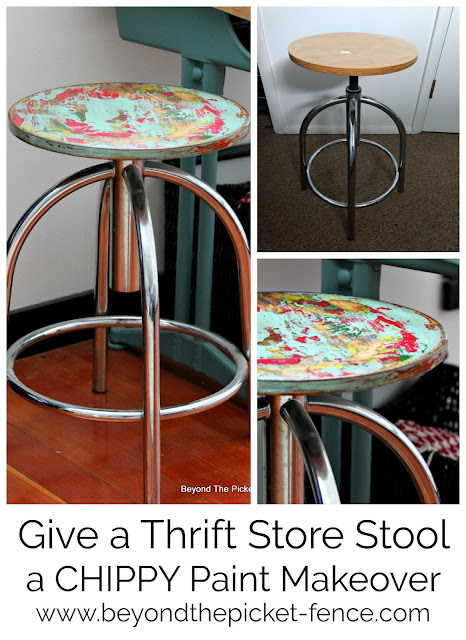 give a thrift store stool a chippy paint technique