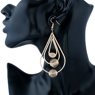 Layered Spiral Beads Hollowed Drop Earrings - Golden