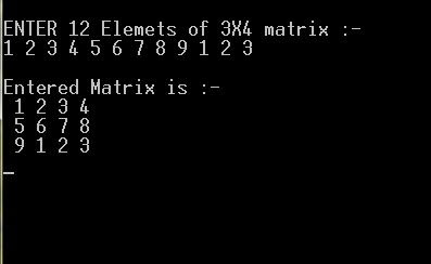 C programming: * C program to print a matrix in 3X4 format using 2D