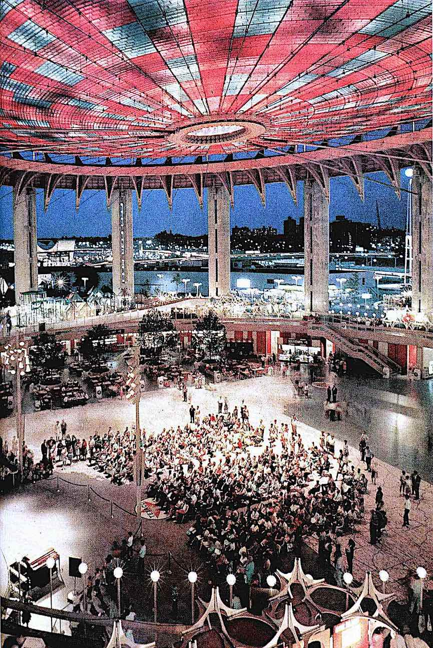 "the 1964 New York World's Fair under the ""Tent of Tomorrow"", a color photograph"