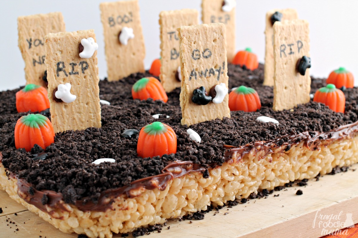 whip up a 100 edible graveyard for halloween this year with these easy haunted graveyard rice krispies treats