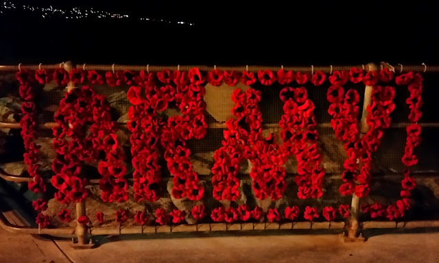 "Red poppies, crocheted and knitted, arranged to form the words ""ARMY"" bordered by poppies on a rectangular mesh frame which is attached to the railings of Brighton Jetty."