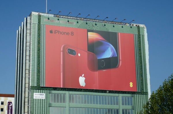 Giant iPhone 8 RED billboard London