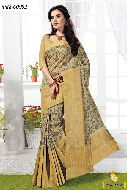 Ethnic wear traditional beige color cotton casual saree online shopping at best price