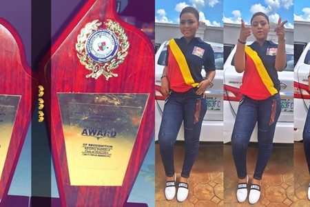 Regina Daniels Took Award As Most Outstanding Student In Igbinedion University