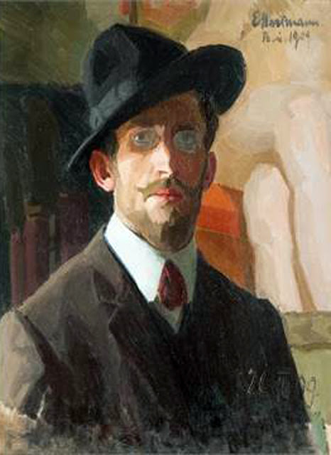 Erich Hartmann, Self Portrait, Portraits of Painters, Fine arts, Portraits of painters blog, Paintings of Erich Hartmann, Painter Erich Hartmann