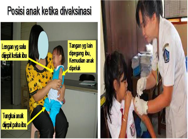 Posisi anak pada saat penyuntikan vaksin imunisasi measles rubella, lengan yang satu dijepit ketiak ibu, tangan yang lain dipegang ibu, kemudian anak dipeluk, tungkai anak dijepit paha ibu, posyandu, sekolah dasar, SD, SLTP, SMP