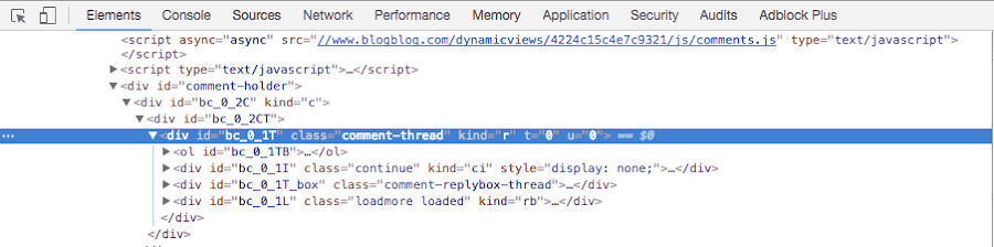 captura del código html generado para los comentarios