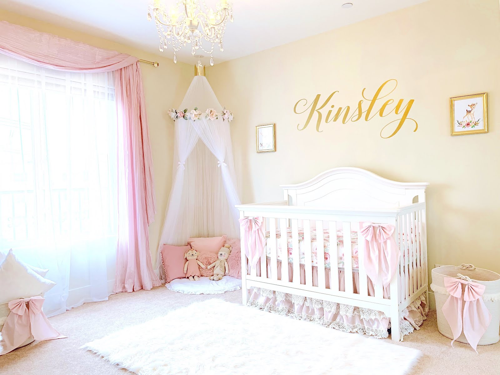 VIDEO} Nursery Reveal! | Pink & Gold Baby Girl Room Tour - The Lindsay Ann