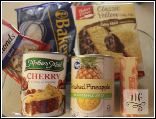 ingredients for this yummy and simple dump cake