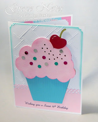 Sweet 16th Birthday, cupcake card by Grace Baxter