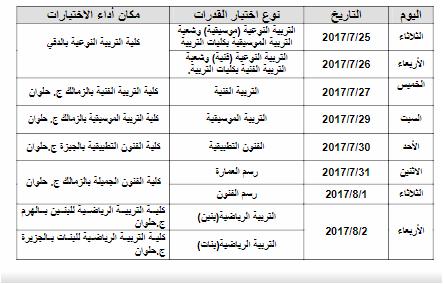 مواعيد ختبارات القدرات للطلاب المصريين الحاصلين على الشهادات المعادلة (العربية والأجنبية) هذا العام 2017