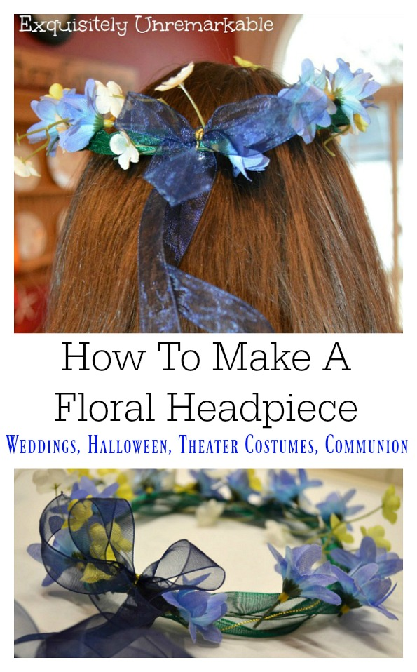 Floral Headpiece For Wedding, Communions, Halloween or Theater Costumes on a brunette girl's head