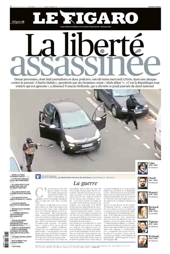 Le Figaro, front page in 2015