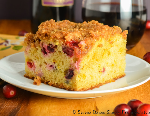 Cranberry Orange Coffeecake With Brown Sugar Crumb is a holiday favorite for Thanksgiving and Christmas! serenabakessimplyfromscratch.com