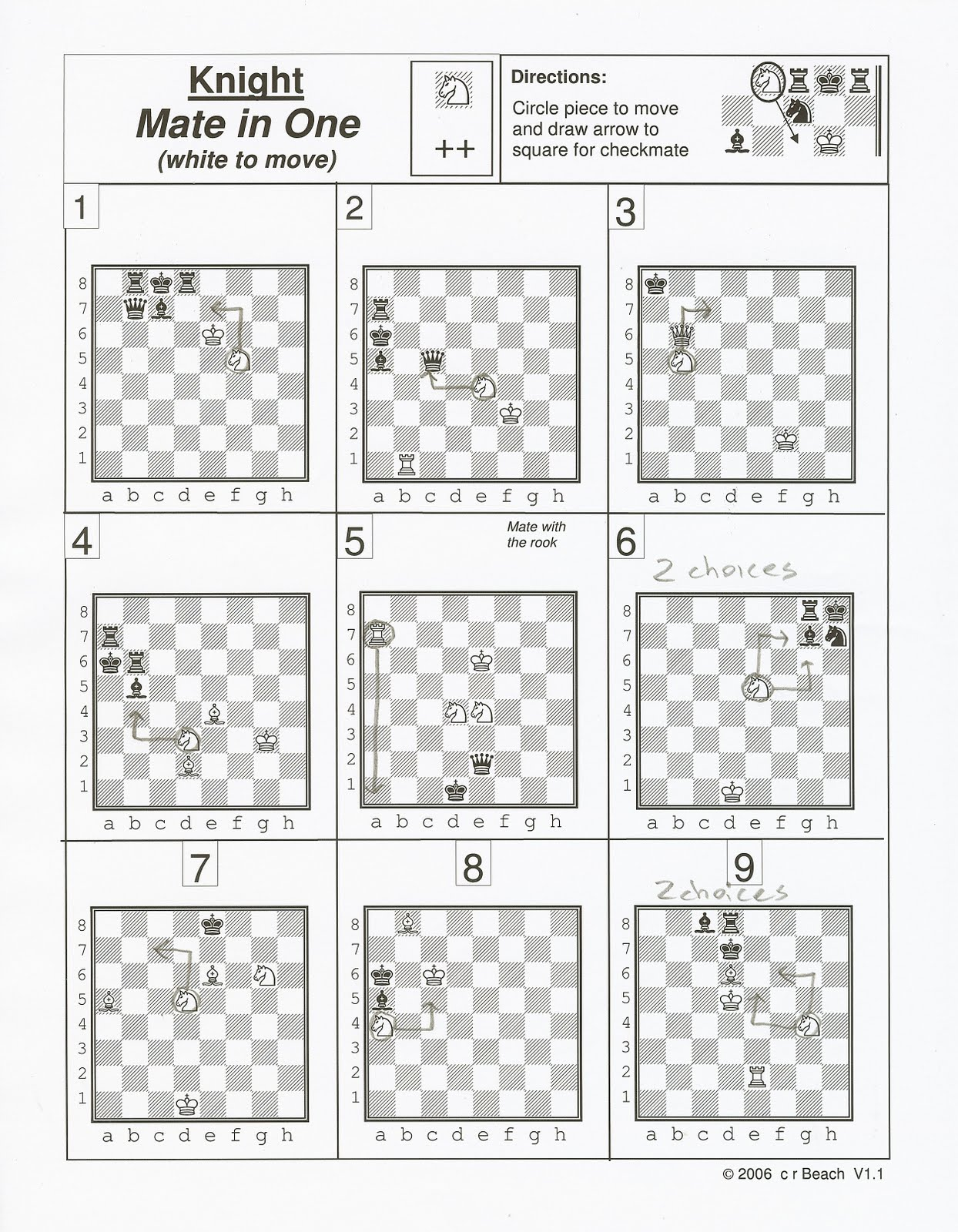 Chess Worksheets Mate In One