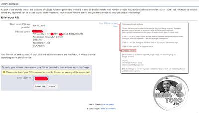 Tempat untuk memasukan PIN yang didapat dari Surat Google...